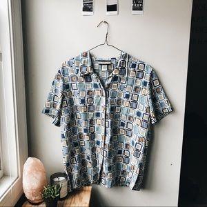 🌞 patterned vintage button up 🌞